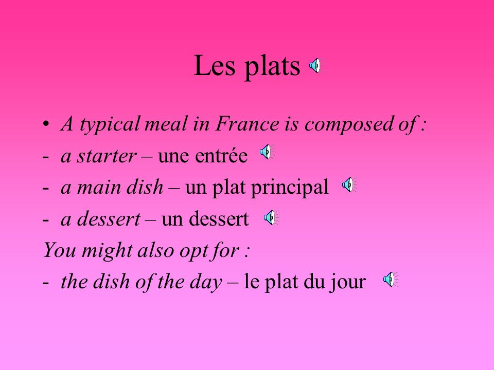 Les plats A typical meal in France is composed of :