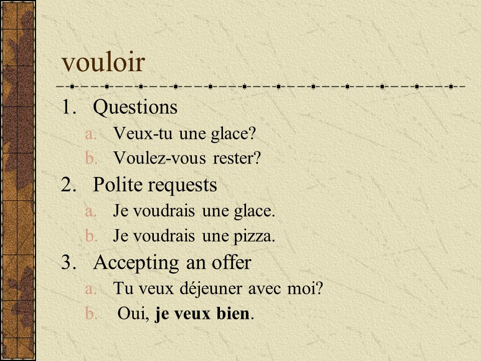 vouloir Questions Polite requests Accepting an offer