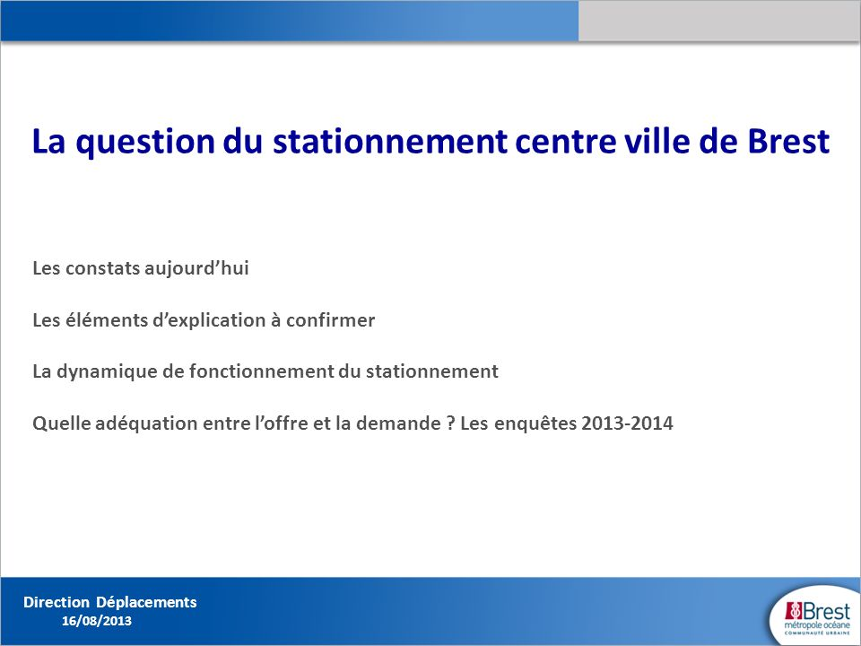 La question du stationnement centre ville de Brest