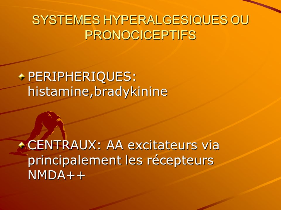 SYSTEMES HYPERALGESIQUES OU PRONOCICEPTIFS