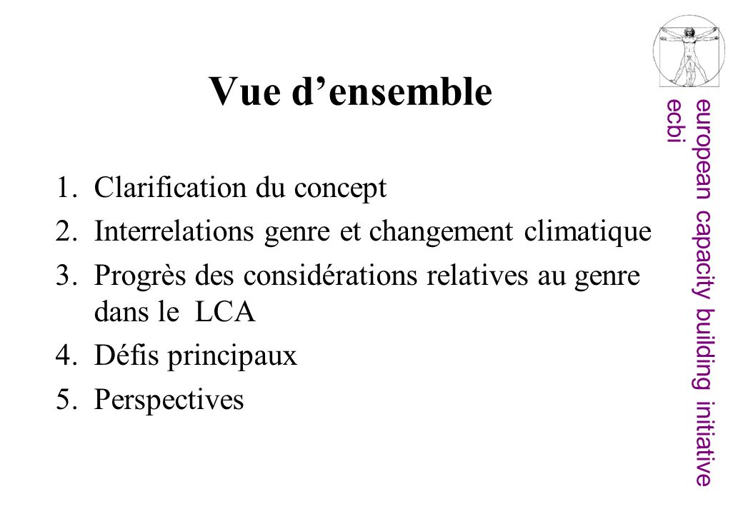 Vue d'ensemble Clarification du concept
