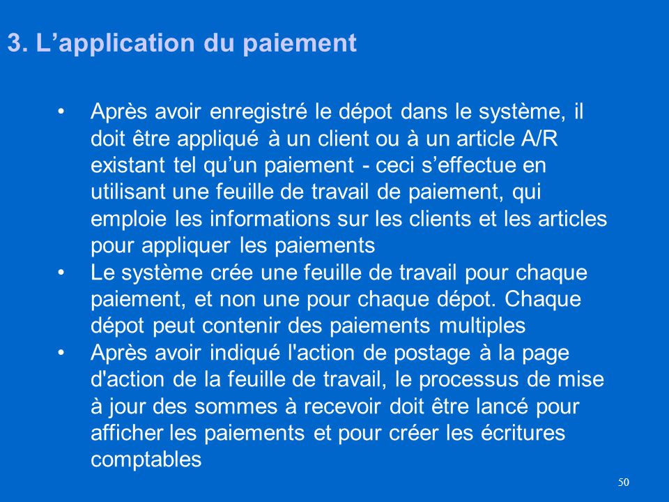 3. L'application du paiement