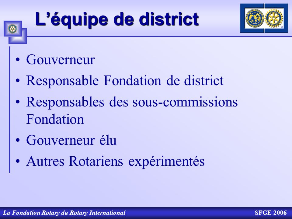 L'équipe de district Gouverneur Responsable Fondation de district