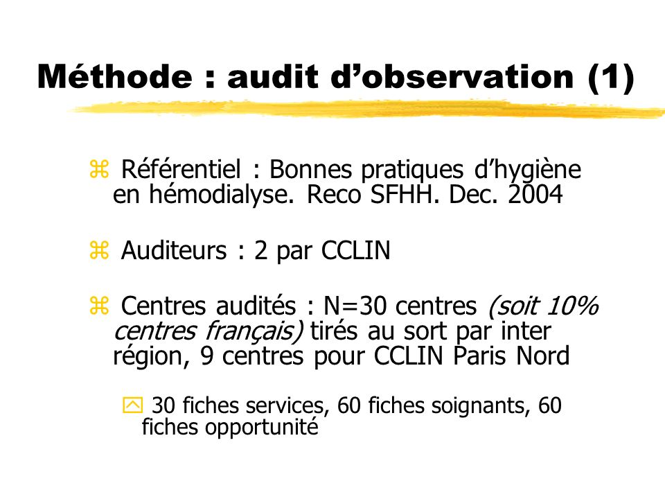 Méthode : audit d'observation (1)
