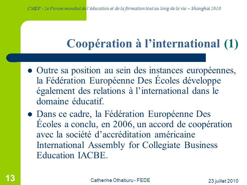 Coopération à l'international (1)
