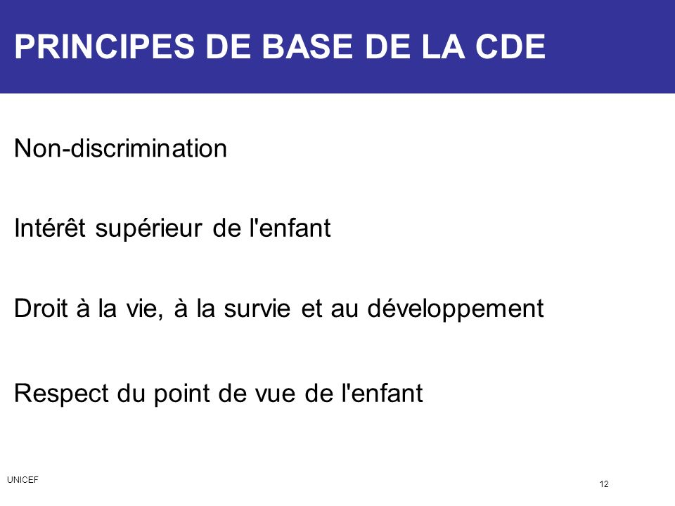 PRINCIPES DE BASE DE LA CDE