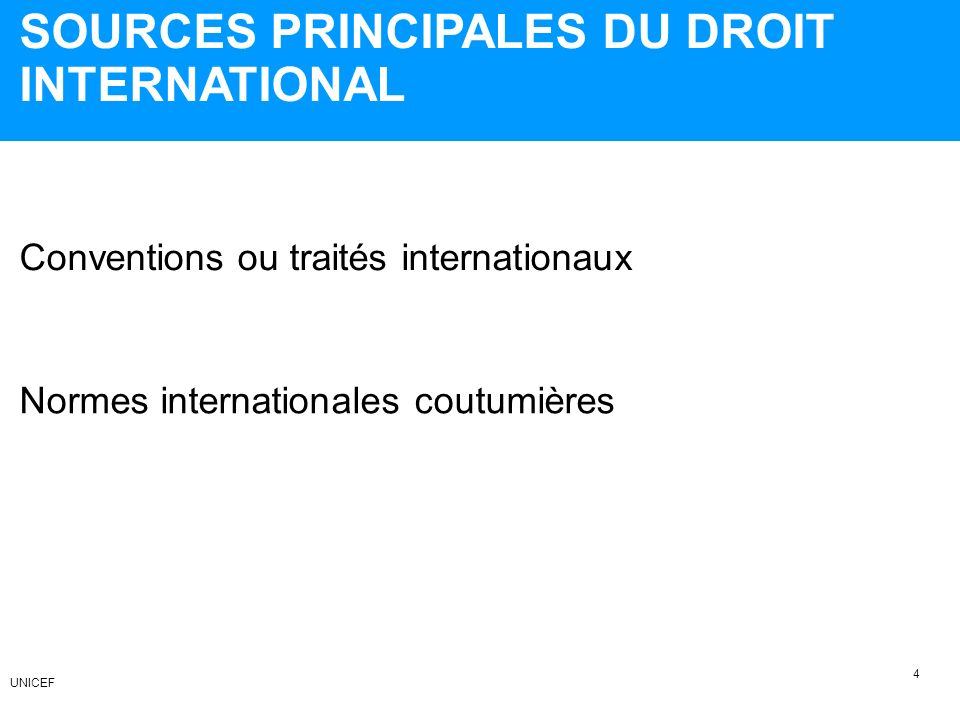 SOURCES PRINCIPALES DU DROIT INTERNATIONAL