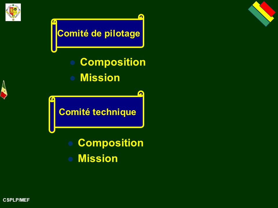 Composition Mission Composition Mission Comité de pilotage