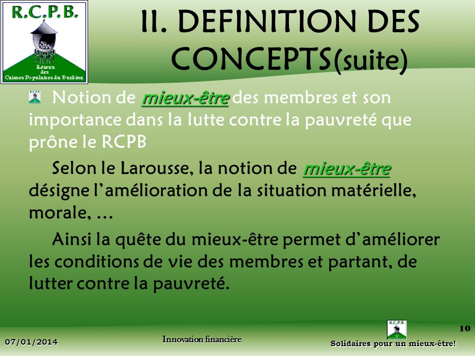 II. DEFINITION DES CONCEPTS(suite)
