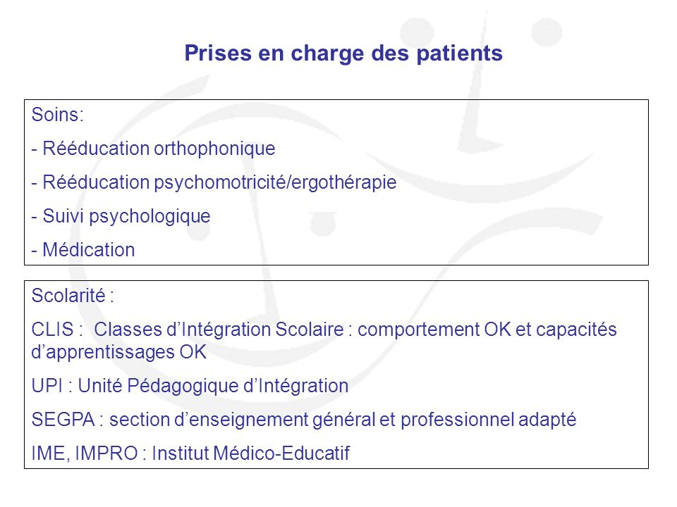 Prises en charge des patients