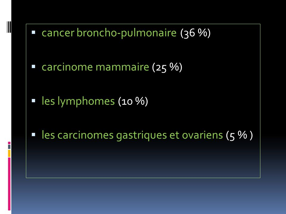 cancer broncho-pulmonaire (36 %)