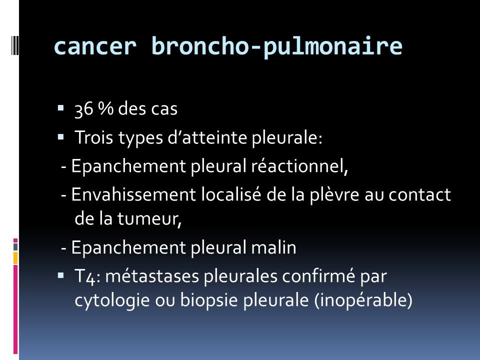 cancer broncho-pulmonaire