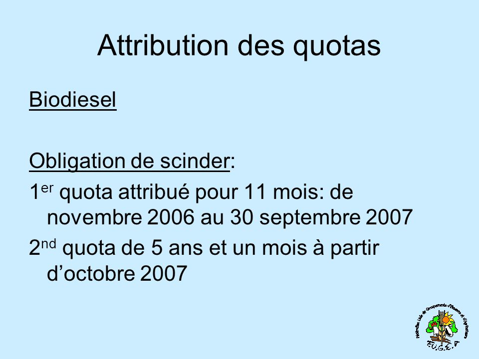 Attribution des quotas