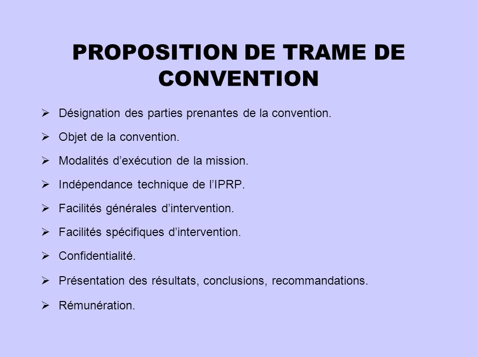 PROPOSITION DE TRAME DE CONVENTION