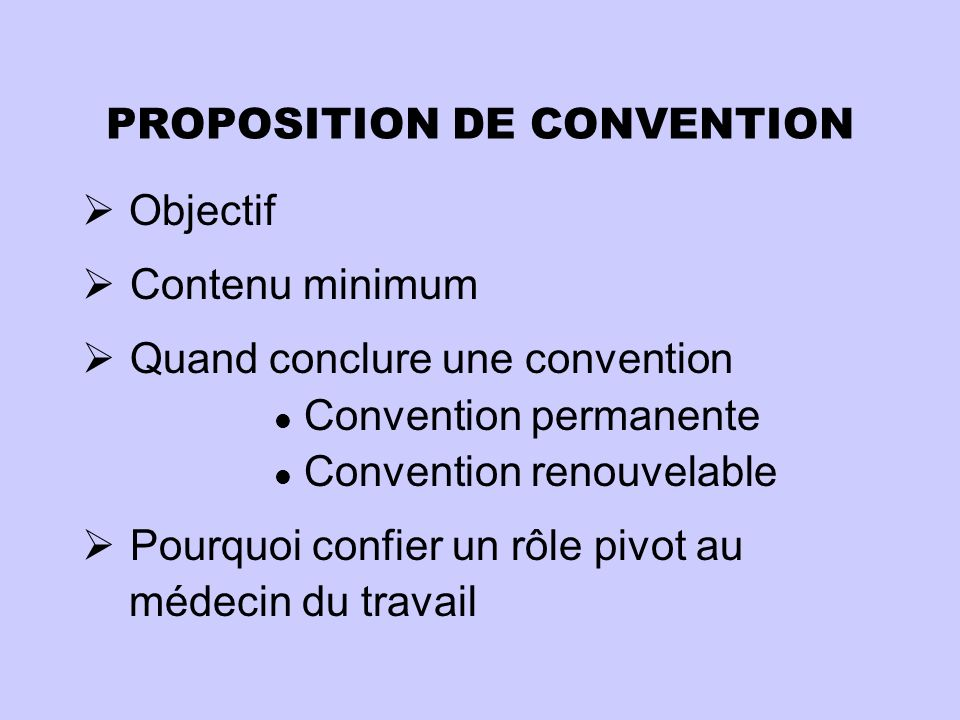 PROPOSITION DE CONVENTION
