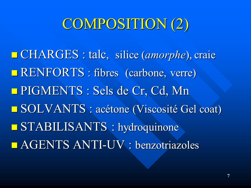 COMPOSITION (2) CHARGES : talc, silice (amorphe), craie