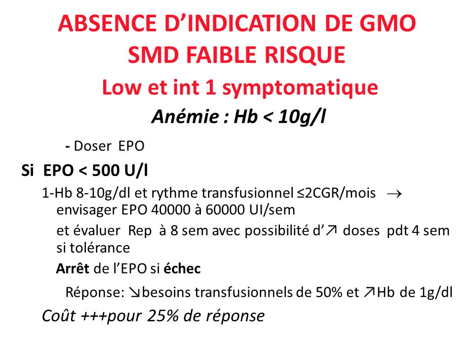 ABSENCE D'INDICATION DE GMO SMD FAIBLE RISQUE Low et int 1 symptomatique