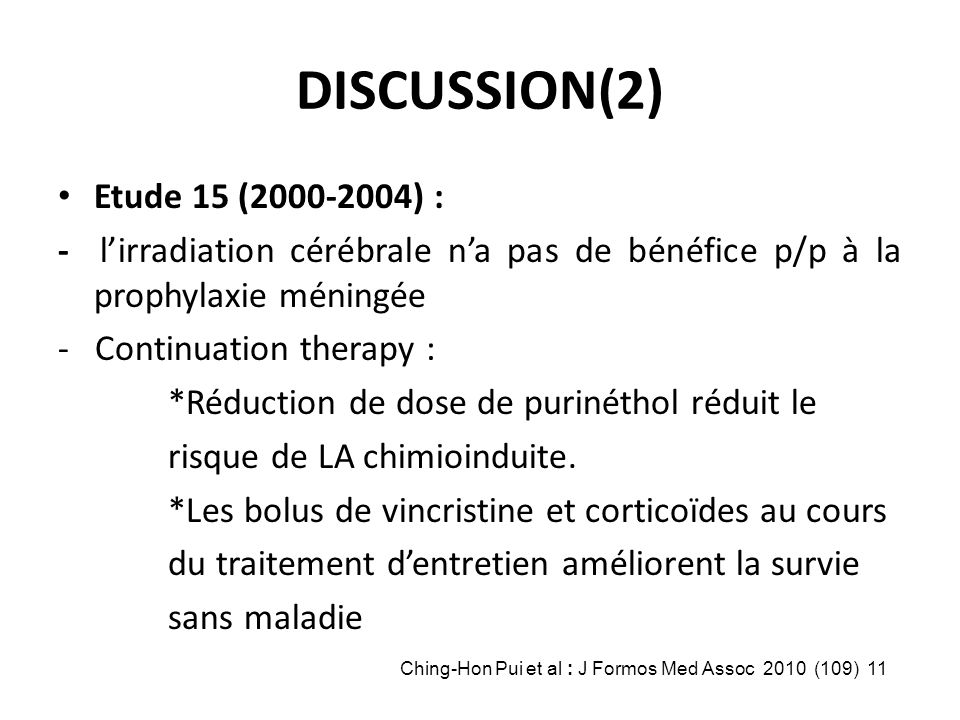 DISCUSSION(2) Etude 15 (2000-2004) :