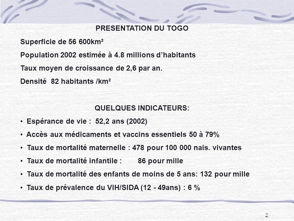 QUELQUES INDICATEURS: