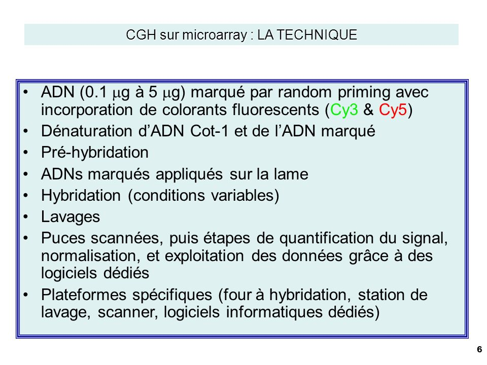 CGH sur microarray : LA TECHNIQUE