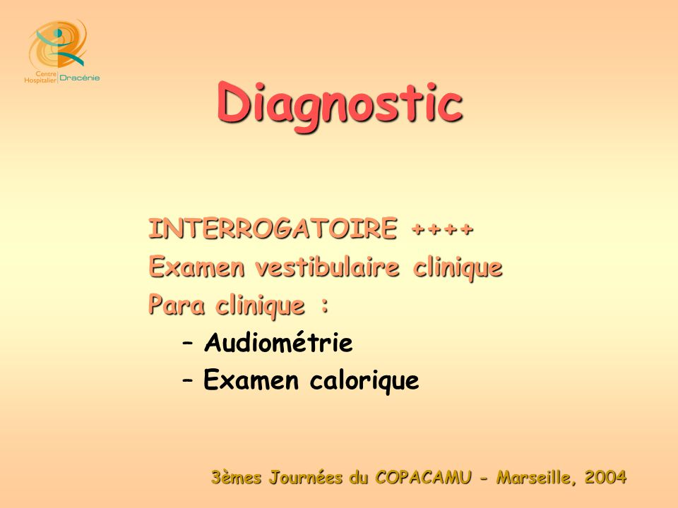 Diagnostic INTERROGATOIRE ++++ Examen vestibulaire clinique