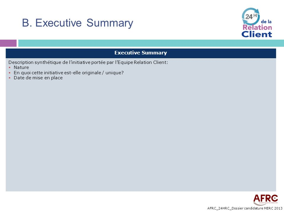B. Executive Summary Executive Summary