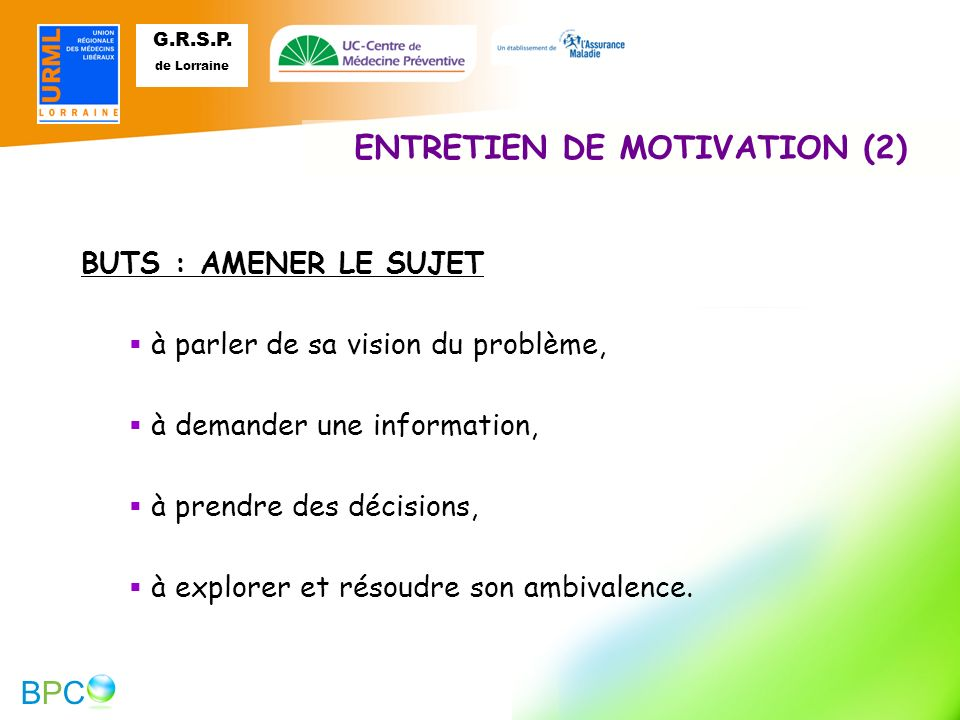 ENTRETIEN DE MOTIVATION (2)