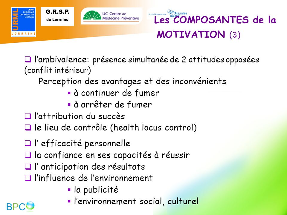 Les COMPOSANTES de la MOTIVATION (3)