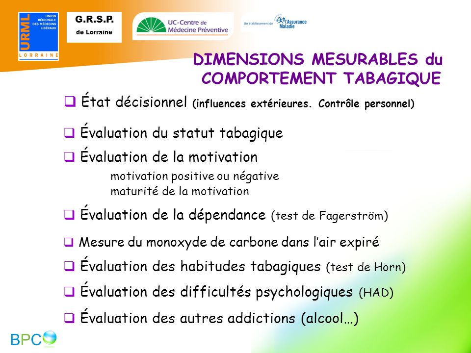 DIMENSIONS MESURABLES du COMPORTEMENT TABAGIQUE