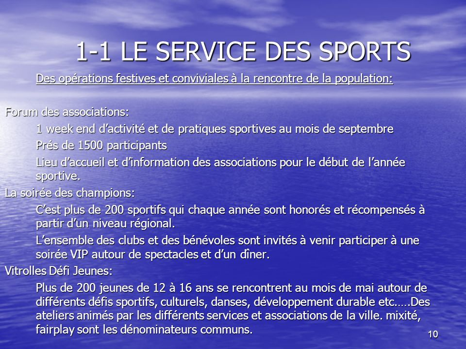 1-1 LE SERVICE DES SPORTS Forum des associations: