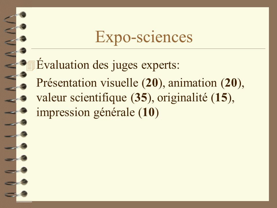 Expo-sciences Évaluation des juges experts: