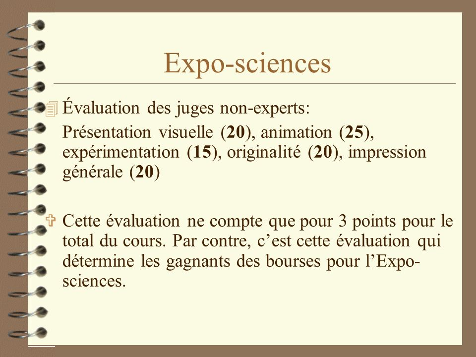 Expo-sciences Évaluation des juges non-experts: