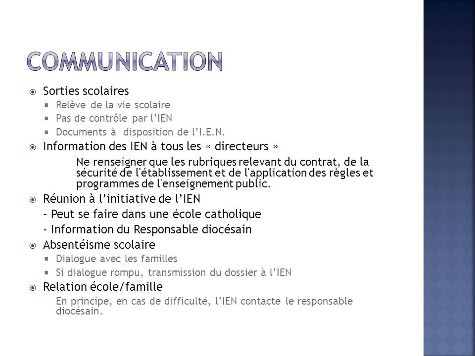 Communication Sorties scolaires