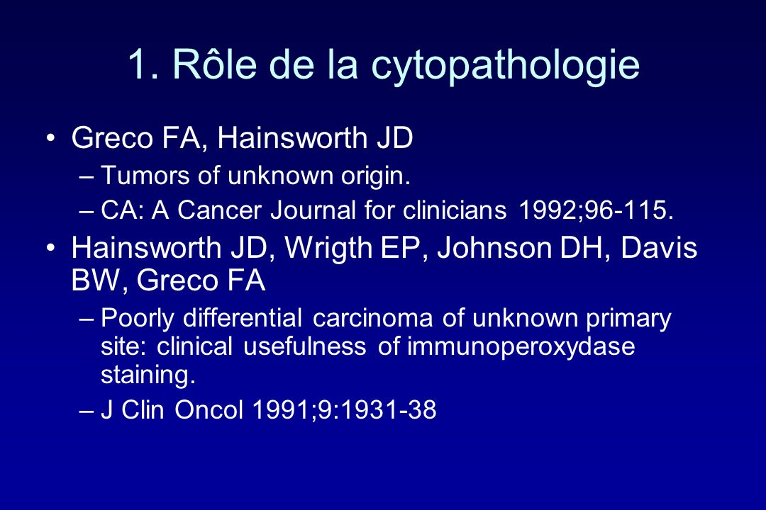 1. Rôle de la cytopathologie