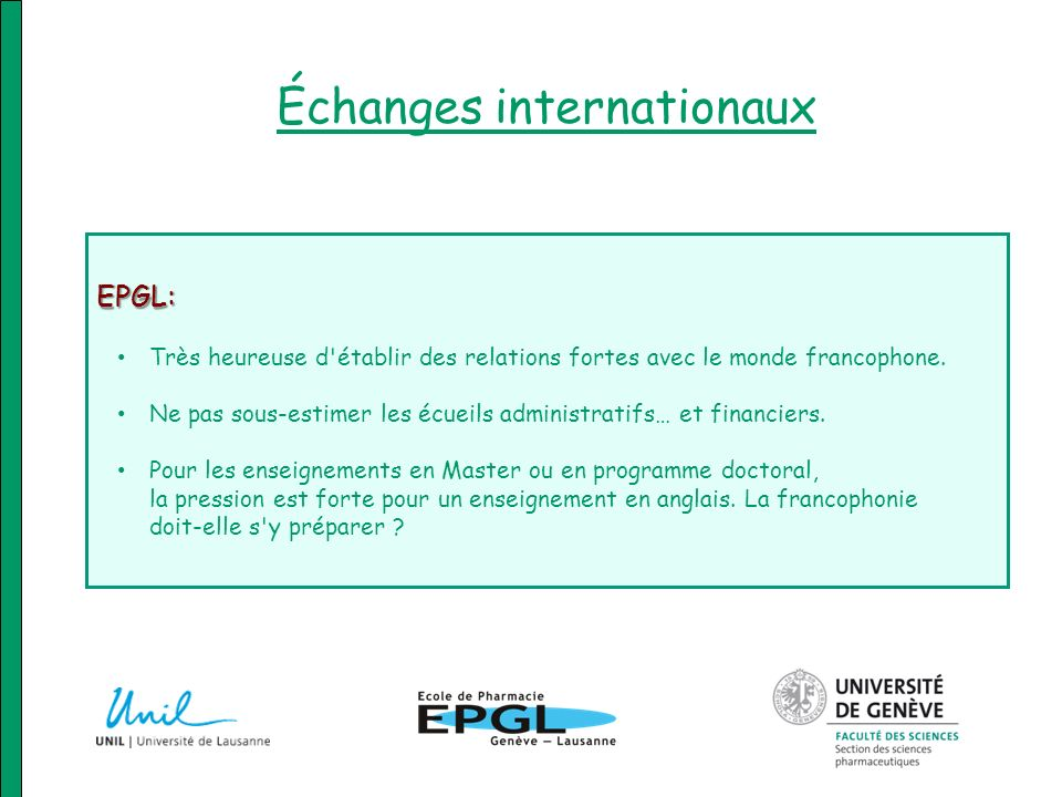 Échanges internationaux