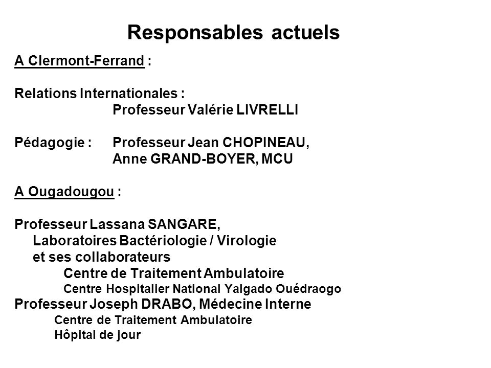 Responsables actuels A Clermont-Ferrand : Relations Internationales :