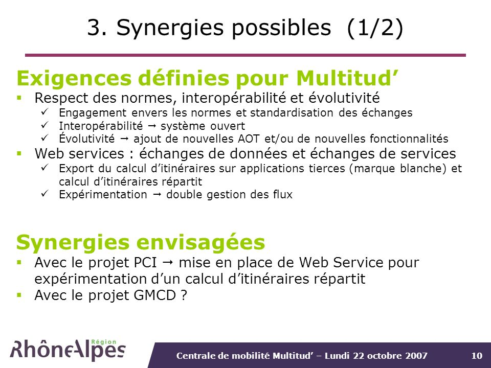 3. Synergies possibles (1/2)