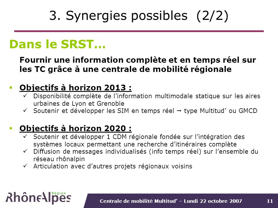 3. Synergies possibles (2/2)