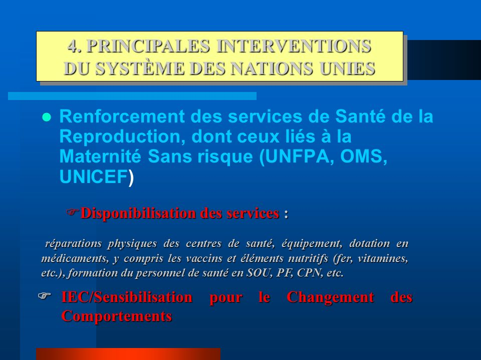 4. PRINCIPALES INTERVENTIONS DU SYSTÈME DES NATIONS UNIES