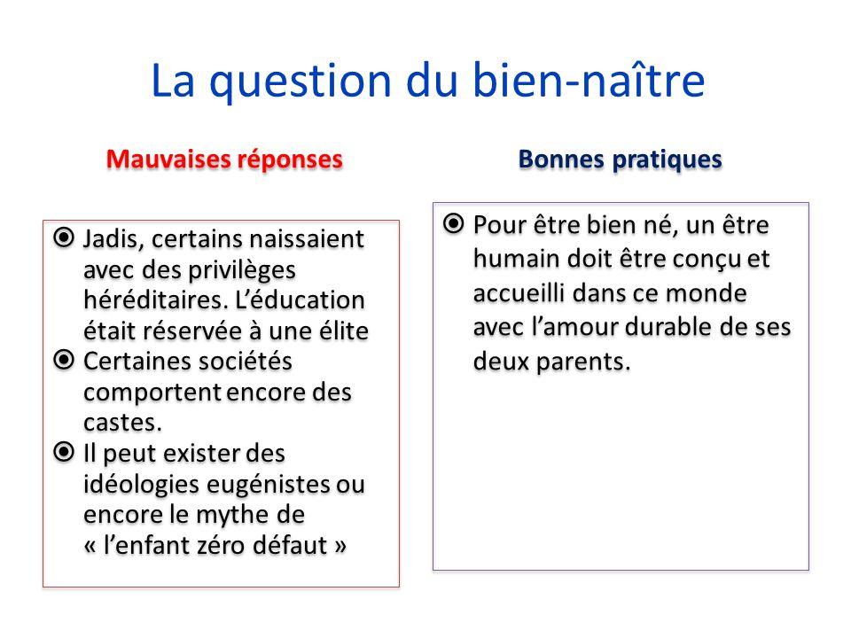 La question du bien-naître