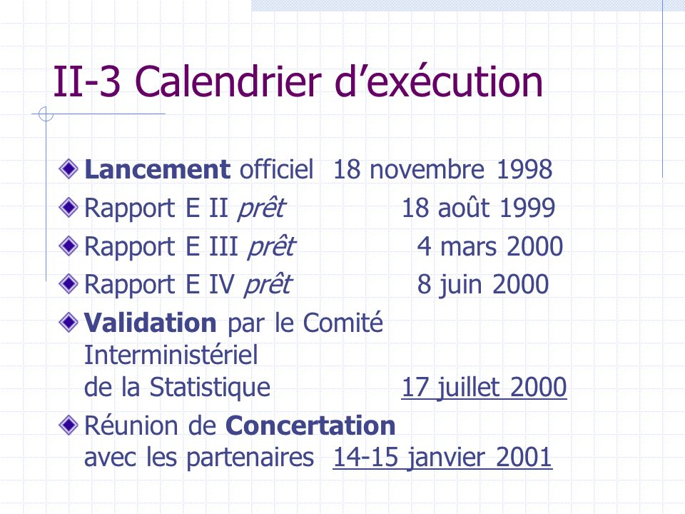 II-3 Calendrier d'exécution