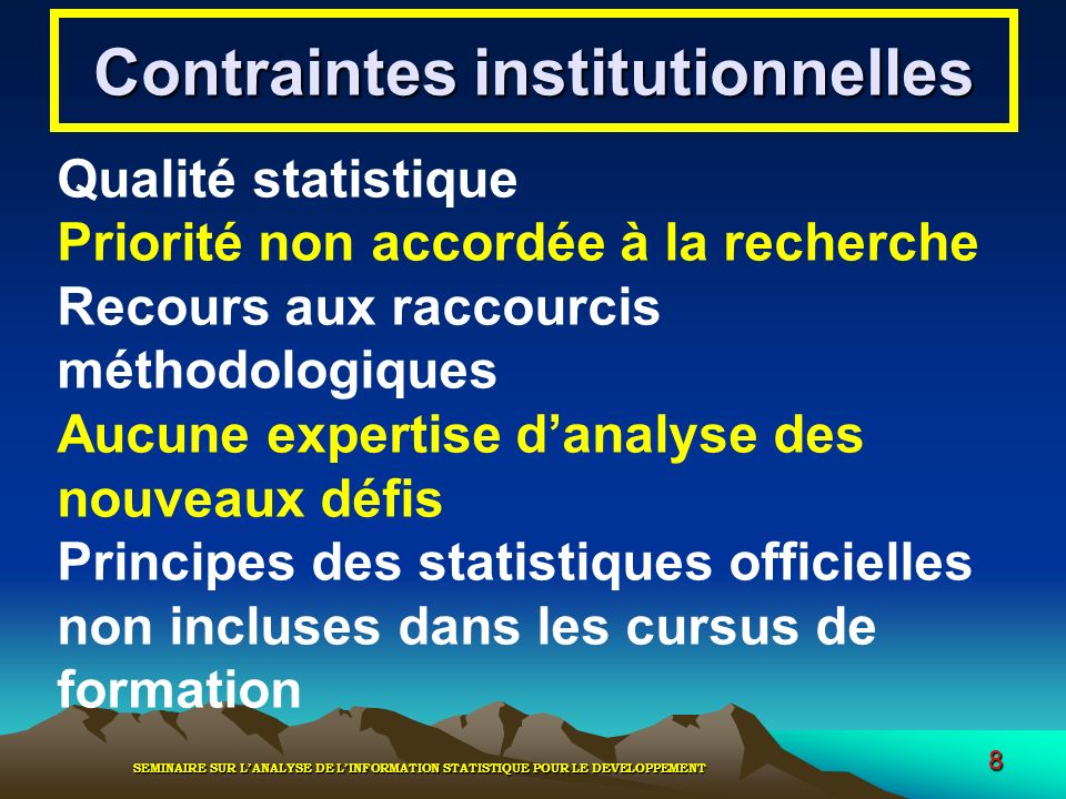 Contraintes institutionnelles