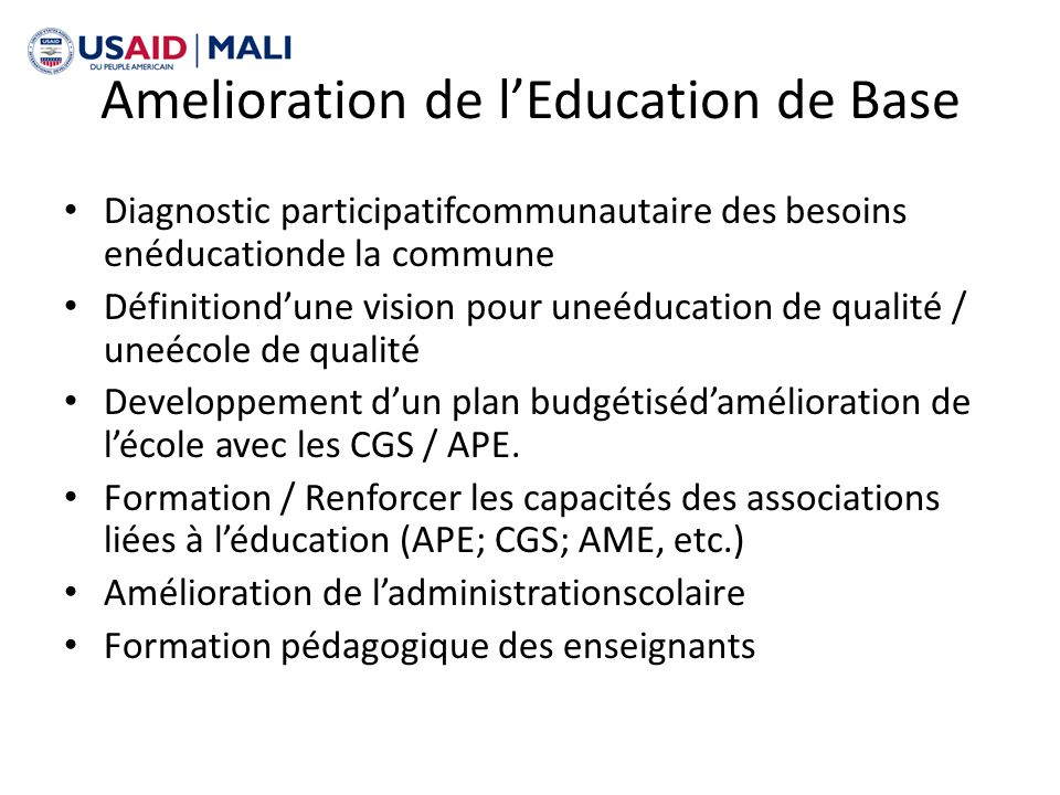 Amelioration de l'Education de Base