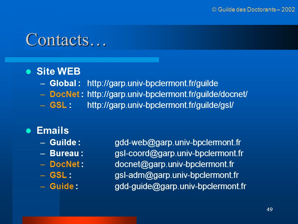 Contacts… Site WEB  s