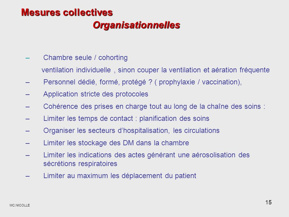 Mesures collectives Organisationnelles