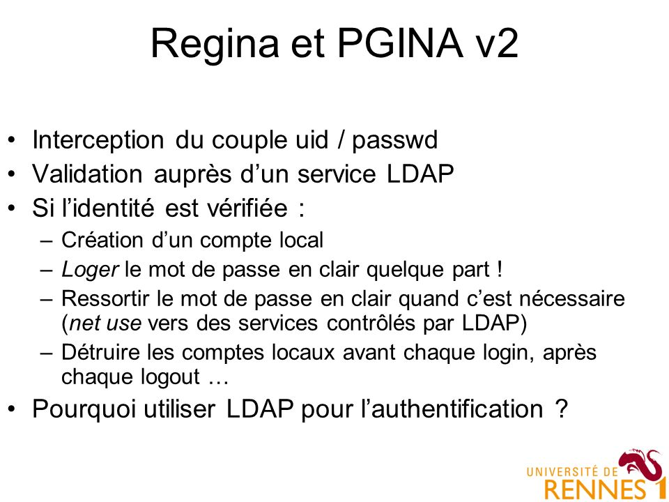 Regina et PGINA v2 Interception du couple uid / passwd