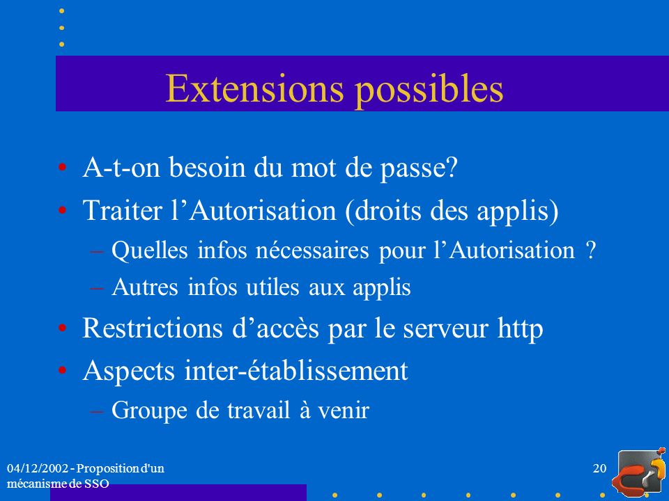 Extensions possibles A-t-on besoin du mot de passe