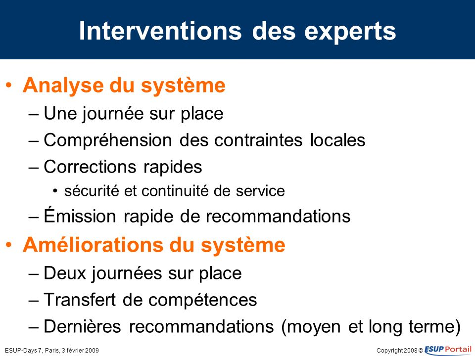 Interventions des experts