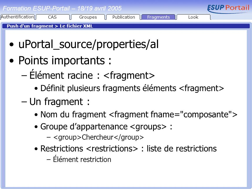uPortal_source/properties/al Points importants :