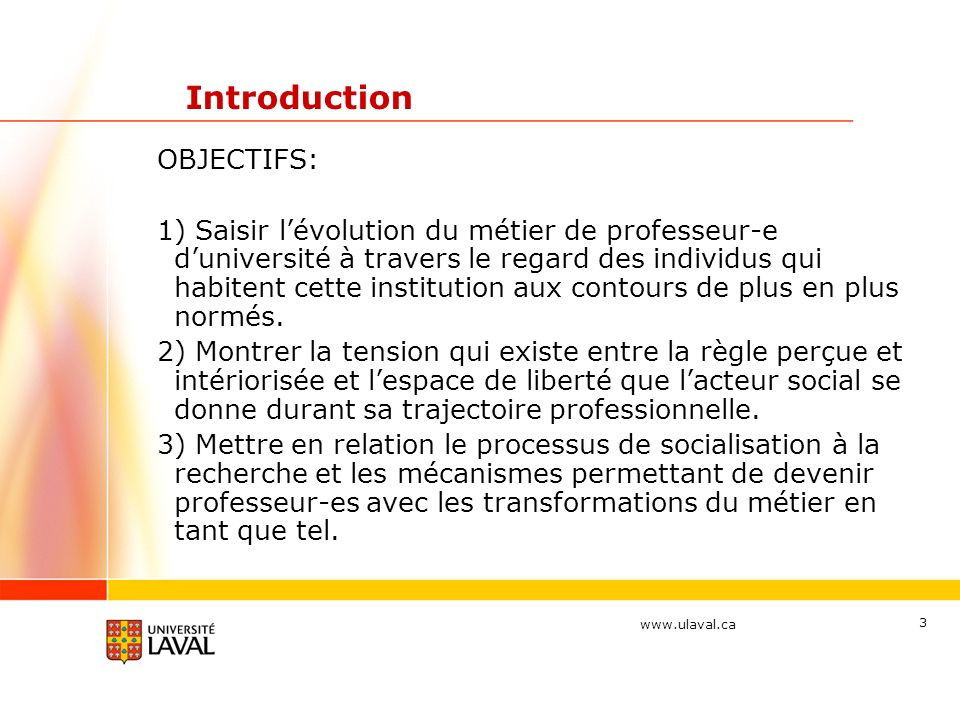 Introduction OBJECTIFS:
